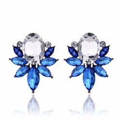 Colorful Crystal Stud Earrings Spring Flower