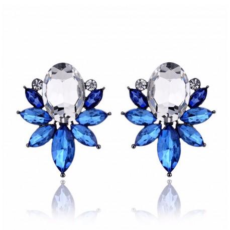 Colorful Crystal Stud Earrings Spring Flower