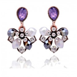 Elegant Crystal Flower Petals Stud Earrings