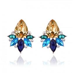 Colorful Acrylic Crystal Stone Stud Earrings Crystal Pineapple