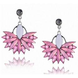 Pendientes en forma de abanico con cristales rosas