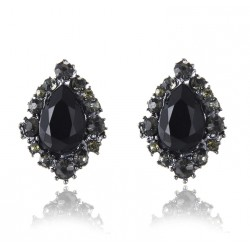 Black Rhinestone Stud Earrings Water Drop