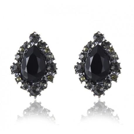 Pendientes en forma de lágrima con piedra negra y cristales