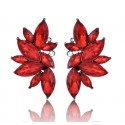 Elegant Geometric Flowers Red Crystal Stud Earring