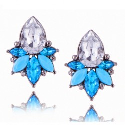 Blue Acrylic Crystal Stone Stud Earrings Crystal Pineapple