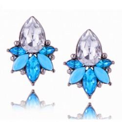 Blue Acrylic Crystal Stone Stud Earrings Crystal Pineapple