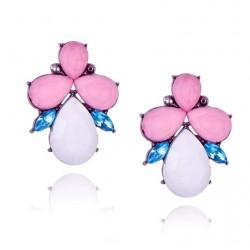 Crystal Flower Stud Earrings For Women
