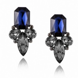 Crystal Stud Earrings Royal Flower
