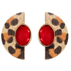 Geometric Leopard Stud Earrings For Women Safari Serie I