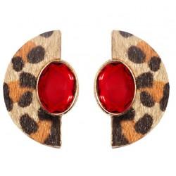 Geometric Leopard Stud Earrings For Women Safari Serie I