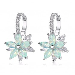 Cubic Zirconia Flower White Gold Color Stud Earrings