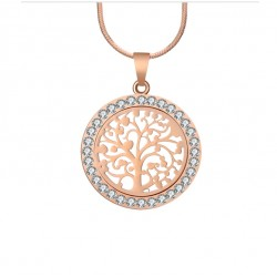 Rose Gold Color Tree Of Life Pendant Necklace