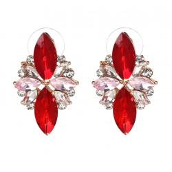 Pendientes elegantes con cristales engastados en varios tonos