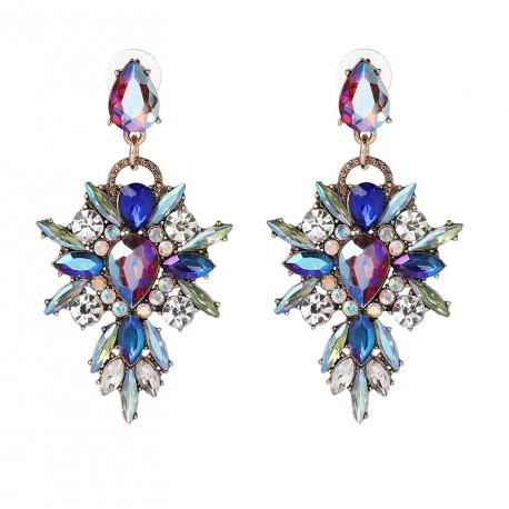 Luxury Crystal Big Flower Statement Earrings Fantasy