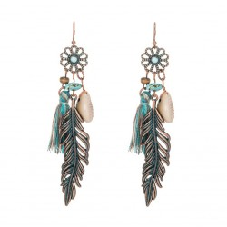 Ethnic Tassel Leaf Earrings with Shell and Turquoise Stones