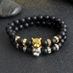 Natural Stone Beads Men Bracelet with Leopard