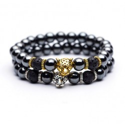 Hematite and Volcanic Stone Bracelet for men with Lucky Leopard