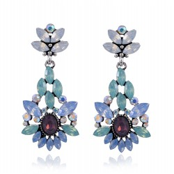 Elegant Blue Purple Crystal Stone Flower Pendant Dangle Earrings