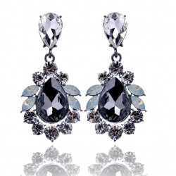 Luxury Statement Big Crystal Stone Pendant Drop Earrings