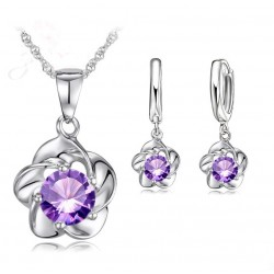 Silver Plated Jewelry Set with Purple Cubic Zirconia