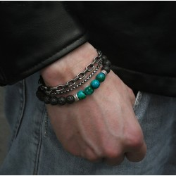 Beaded Bracelet set for Men with Stainless Steel and Volcanic Stone