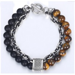 Stone Beads Bracelets for Men with Black Gunmetal Stainless Steel