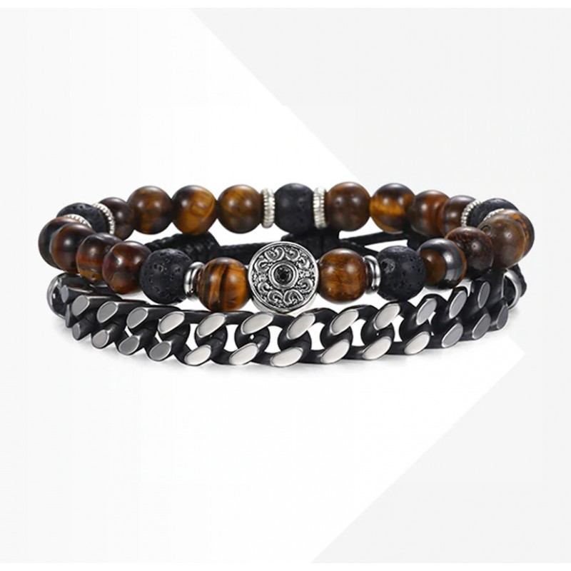 d83973e000688 Bracelet Set for Men with Tiger Eye Stone, Leather and Stainless Steel