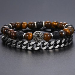 Bracelet Set for Men with Tiger Eye Stone, Leather and Stainless Steel