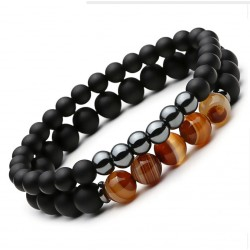 Natural Stone Beads Bracelet Set for Women and Men