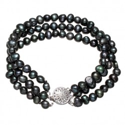 Black Freshwater Cultured Pearl Bracelet Three Strand