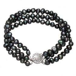 Pulsera de Perlas negras en tres capas