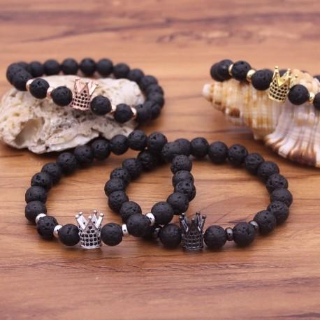 Lava Stone Pave CZ Imperial Crown Bracelet for Men