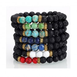 Natural Lava Stone Bead Bracelets with Semi Precious Stones