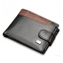 Cartera billetera multicompartimentos de hombre en piel negro y marrón