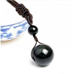Collar unisex de cuerda natural trenzada con colgante de esferas de Obsidiana
