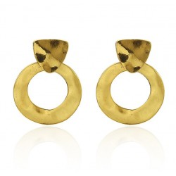 Irregular Geometric Circles Vintage Gold Color Earrings