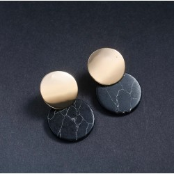 Trendy Double Round Drop Earrings with Black Stone Alloy & Metal