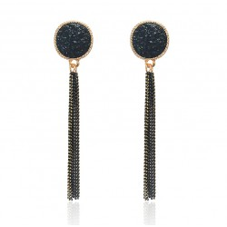 Black and Gold Color Long Chain Tassel Dangle Drop Earring