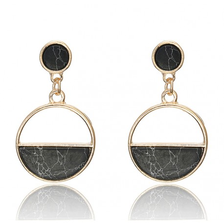 Black Stone Alloy Drop Earrings Art Deco