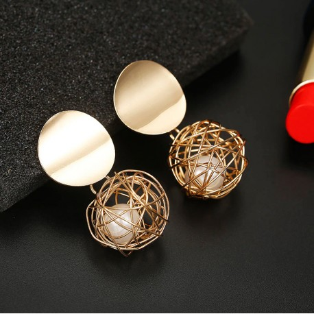 Golden Color Round Ball Geometric Earrings