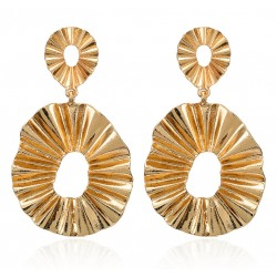 Geometric Vintage Gold Color Leaf Shaped Earrings