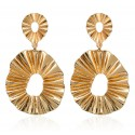 Geometric Vintage Gold Color Leaf Shaped Earrings