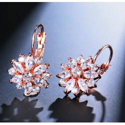 Silver or Rose Gold Plated Crystal Zirconia Flower Earrings