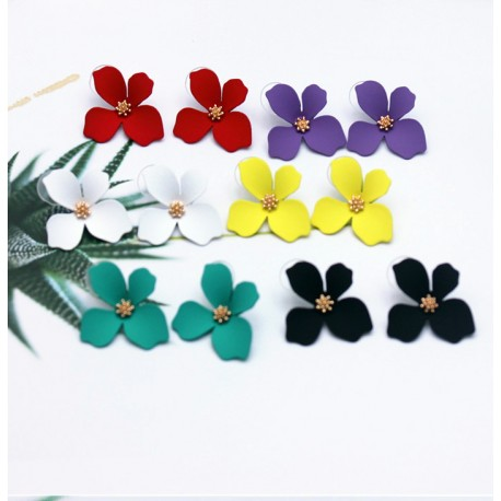 Stud Earrings With Flower, Different Colors