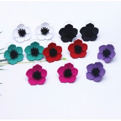 Pendientes de moda, en forma de flor amapola, disponible en varios colores