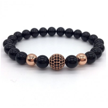 Men Bracelet with Lava Stone or Obsidian Beads and Pave SZ Crystals