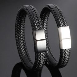 Classic Men Genuine Leather Bracelets with Stainless Steel