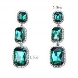 Pendientes Elegance con cristales rojos o verdes formados por tres colgantes en cascada