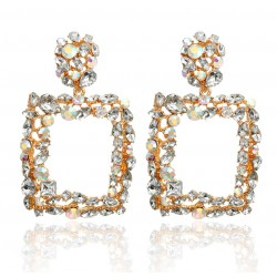 Geometric Maxi Vintage Drop Earrings with Crystals