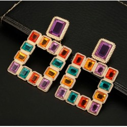 Square Multicolor Crystal Statement Geometric Drop Earrings